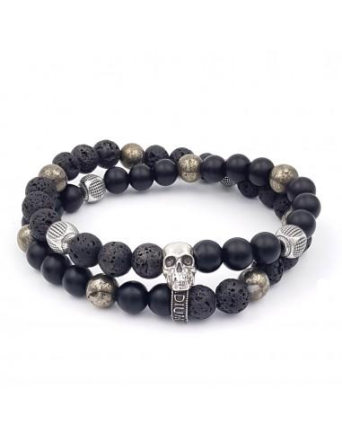Ghot Skull Double rang jadium bracelet argent massif