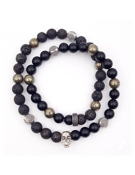 Bracelet Jadium perles de Lave, pyrite et d'onyx mat, tête de mort Argent
