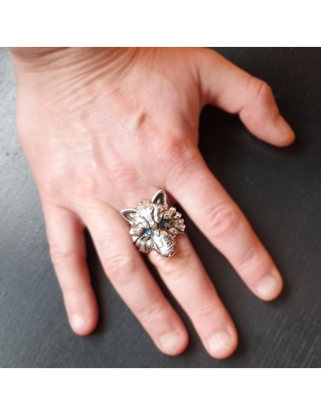 Bague argent loup Johnny Hallyday