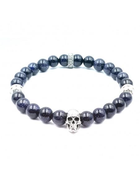 Trinity Skull, pierre de sable bleu et argent massif