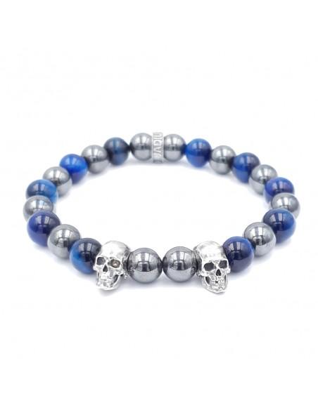 Elzy Silver Duo, bracelet en argent et perles (Hématite et Oeil de tigre bleu)