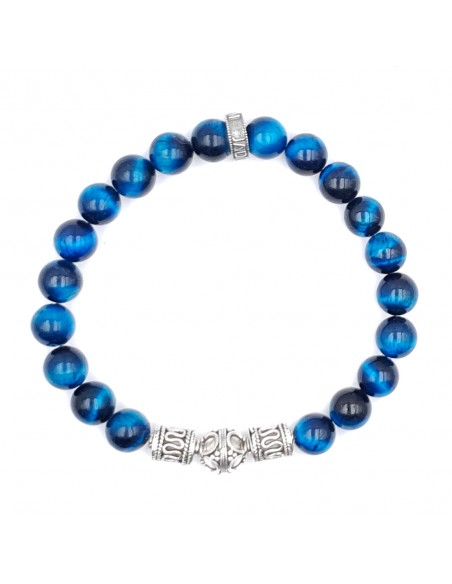 bracelet œil de tigre bleu royal pour homme et femme