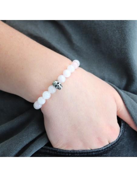 Bracelet quartz rose perles argent massif et crane