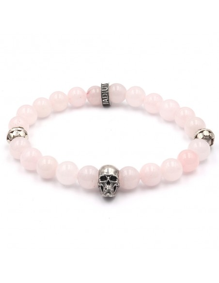 Bracelet quartz rose perles argent 925 et skull