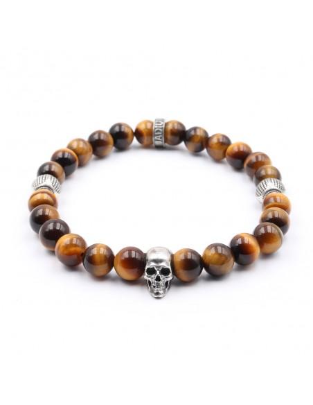 Bracelet oeil de tigre marron homme et femme  argent 925
