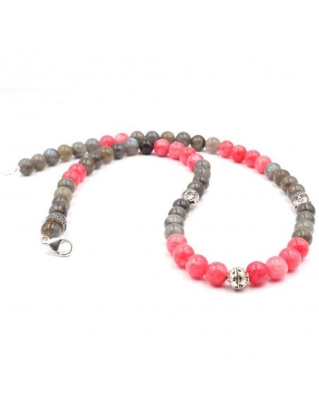 Collier bouddha argent silver, perle rhodocrosite rose et labrodorite grise de JADIUM