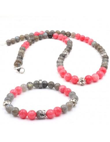 Parure bouddha argent silver, perle rhodocrosite rose et labrodorite grise BY jadium