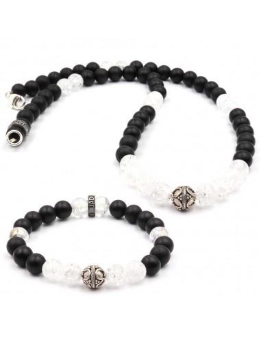 Parure Jadium perles onyx et cristal de roche et argent