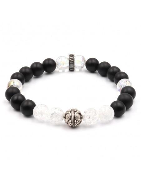 Bracelet  Jadium perles onyx et cristal de roche et argent
