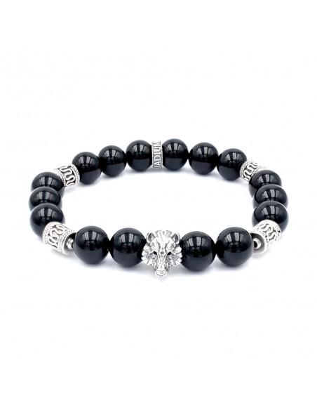 Bracelet Loup tatouage de johnny en argent et perles onyx