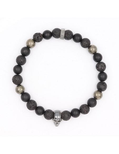 Bracelet pierre de lave, onyx mat, pyrite et argent 925 Jadium