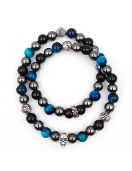 Bracelet double rang perles noires, argent et bleu tete de mort Jadium