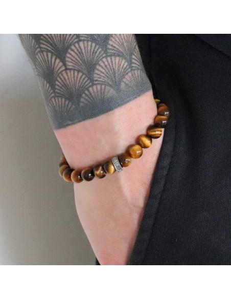 Bracelet Savannah en perles œil de tigre et la rondelle Jadium