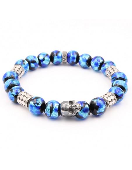 Bracelet en perles de verres skull phosphorescent