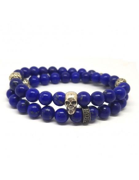 Bracelet Prophecy Skull en double rang, perles Lapis Lazuli et argent 925