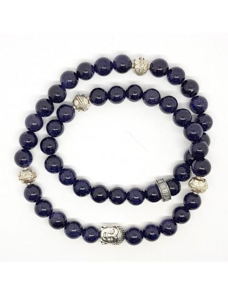 Bracelet Trinity Buddha en double rang, pierre de sable bleu et argent 925